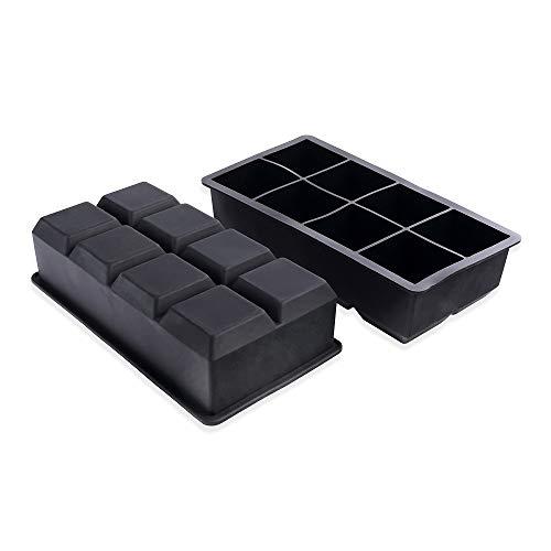 Schramm® 2 Stück XXL Eiswürfelformen 5cm Eiswürfel aus lebensmittelechtem Silikon BPA-frei Silikonformen Eiswürfelzubereiter Ice Cube 2er Pack -