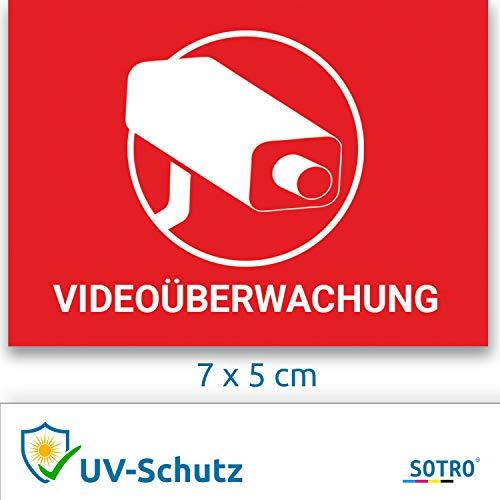 Videoüberwachung Aufkleber Sticker Warnaufkleber Kamera mit UV-Schutz, 5 St. (Uv-kamera)