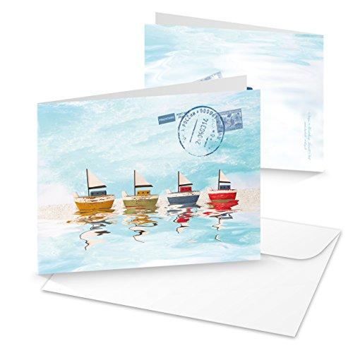 3 Stück SEGEL-SCHIFF Segel-BOOT YACHT Grußkarte Glückwunschkarte maritim Meer hell-blau türkis Blanko-karte Segler MIT KUVERT Reise-Gutschein Geschenk-Gutschein