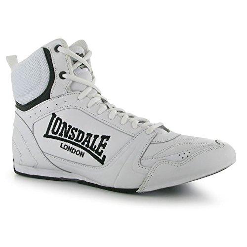 Lonsdale Herren Boxschuhe Boxen Stiefel Turnschuhe Schnuerschuhe Sport Schuhe Weiß/Schwarz 9 (43)