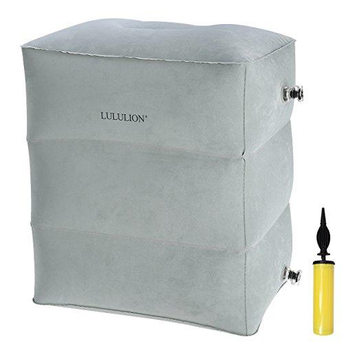 LULULION Aufblasbare Fußstütze Reisekissen Beinkissen Kinder-Reisebett verstellbar im Flugzeug oder zu Hause - inkl. Luftpumpe, grau