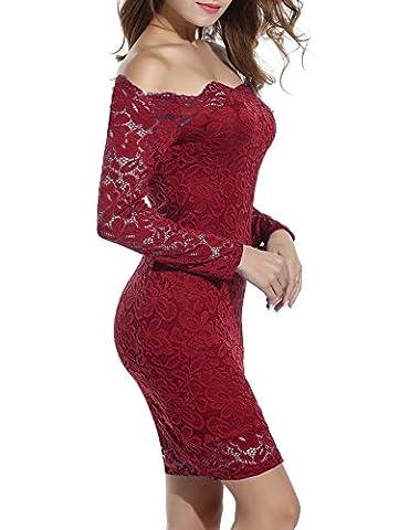 ACEVOG Damen Schulterfreies Spitzekleid mit Langarm Knielang sexy Partykleid Freizeitkleid (EU 36(Herstellergröße_S), Weinrot)
