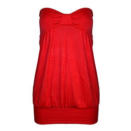 Fast Fashion – Haut Plus Le Plaine Taille Sans Bretelles L'avant Knot Proue Bandeau - Femmes Rouge
