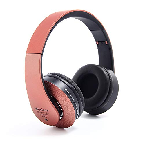 Kapel Bluetooth-Kopfhörer über Ohr, kabelloses Hi-Fi-Stereo-Headset, faltbar, mit integriertem Mikrofon und Kabelmodus, TF-Karte für PC/Handy/TV (Rot)