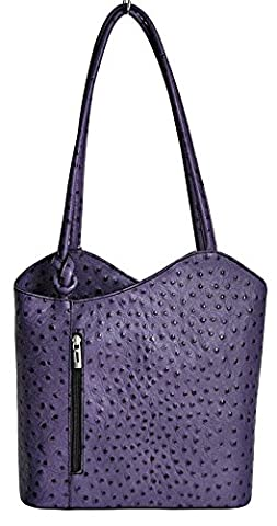 Italian leather ostrich effect Backpack Convertible Handbag (Purple)