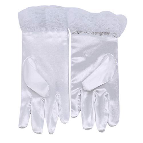 LLZIYAN Bogen Spitze Kurze Handschuhe Hochzeit Brauthandschuhe Prinzessin Handschuhe Für Bankett Phantasie Party Kostüm, S