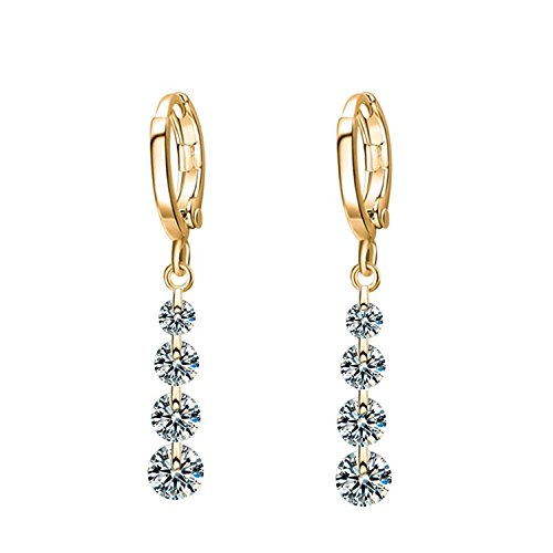 Shining Diva Fashion Gold White Crystal Dangle & Drop Earrings For Women