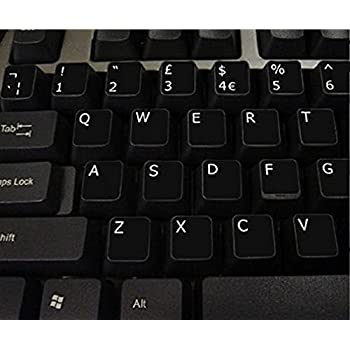 9f6822f6d64 Qwerty Keys English UK Non Transparent BLACK Stickers with White Letters -  Suitable for ANY Keyboard