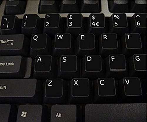 English UK Non Transparent BLACK Stickers with White Letters - Suitable for ANY Keyboard