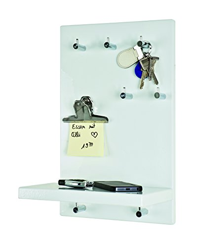 Haku Möbel Schlüsselboard - Schlüsselbrett MDF Dekor Hochglanz-weiß 7 Knöpfe Höhe 40 cm