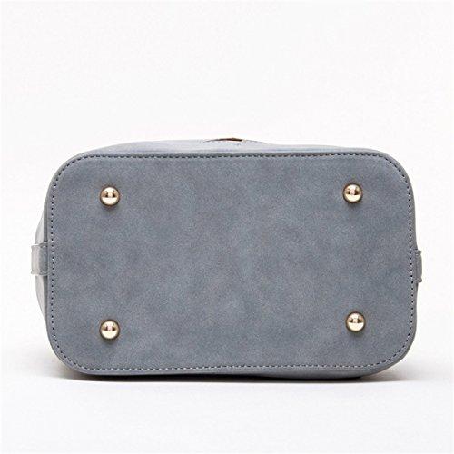 Einfach PU Kurierbeutel Frauen Gelegenheits- Wild Umhängetasche Einfarbig Fünfzackigen Stern Eimer Tasche Persönlichkeit Wellenpaket Grey