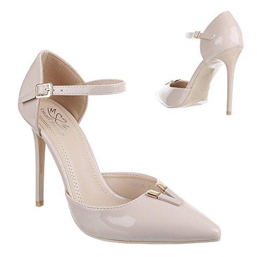 Ital-Design High Heel Damen Schuhe Knöchelriemchen Pfennig-/Stilettoabsatz High Heels Schnalle Pumps Beige