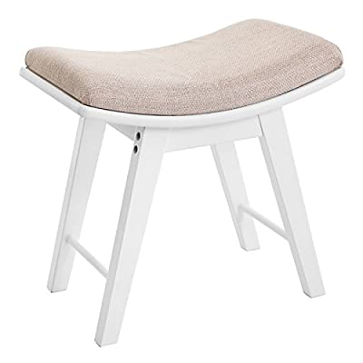 Songmics Dressing Stool Rubberwood Legs Padded Bench Concave Seat Surface Modern White RDS51W - low-cost UK light store.