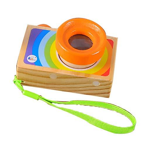 LAMEIDA Kinder Kamera Mini Kaleidoskop Spielzeug Holz tragbare Kamera für Kleinkinder Size 9.5*7*5.5CM (orange) -