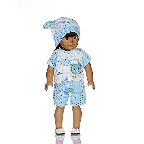 Traje de Pijama Moda Invierno Top Camisero Estampado+Pantalones Cortos+Sombrero de Conejo para 18 Pulgadas Muñeca Americana Chica Gusspower