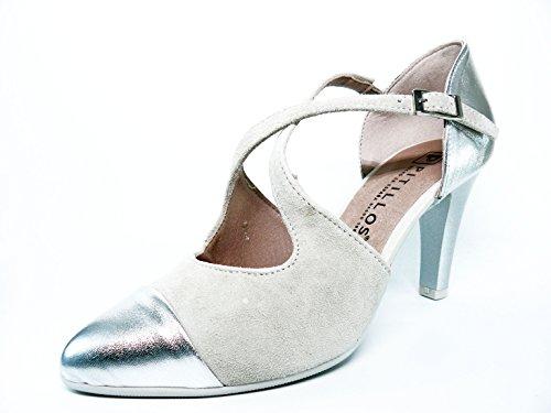 Zapato en piel Nobuk Hielo puntera metalizada PITILLOS