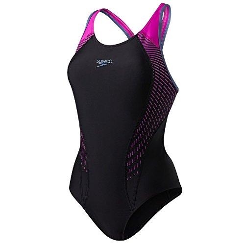 Speedo Damen Passform Aquacharge Badeanzug, damen, Fit Laneback, schwarz/violett, 42