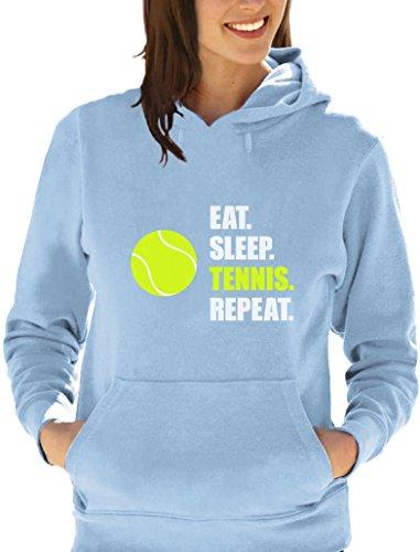 joueur de Tennis EAT SLEEP TENNIS Sweatshirt Capuche Femme Bleu ciel