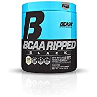 Beast Sports Nutrition BCAA Ripped Black: Fast Recovery BCAA, Amino Energy Weight Loss Supplement, Cutting Powder ft. Instantized BCAA, MCT Oil - Get Shredded & Build Muscle. Coconut Cream