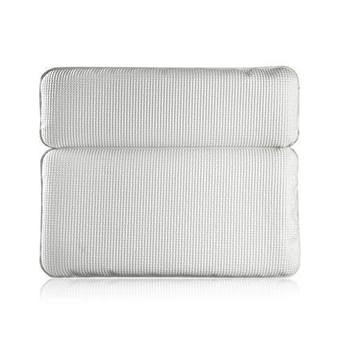 KKCF Badekissen, Badekissen mit starken großen Saugnäpfen PVC-Speicherschäume-Halskissen Wasserdicht,White