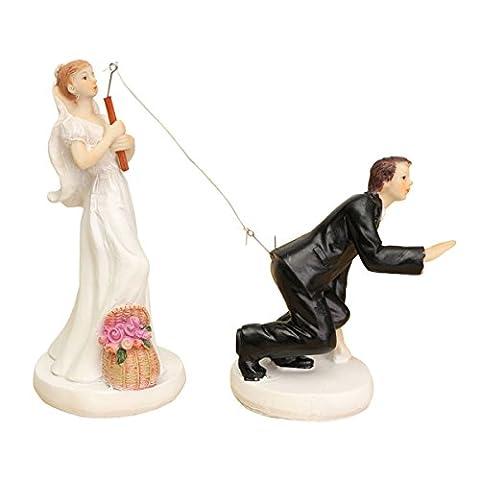 TOOGOO(R) FUNNY ROMANTIC WEDDING CAKE TOPPER FIGURE BRIDE GROOM COUPLE BRIDAL Groom hooked