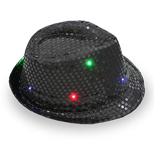 n Jazzhut mit LED-Licht, glitzernd, Pailletten Hut für Party, Tanzen mit 9 blinkenden LED-Lampen 58cm Adjustable Schwarz ()