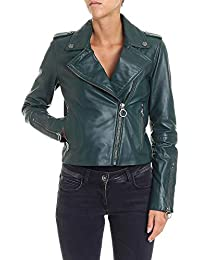 Pinko Giacca Outerwear Donna 1G13LMY4QEX73 Pelle Verde 15f2e09d1d5