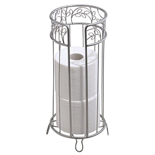 mDesign bagno Libera installazione-Porta rotolo di carta igienica, Argento