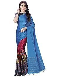 bf40193deb2519 Venisa Women's Half & Half Handloom Cotton Soft Silk Digital Printed Saree