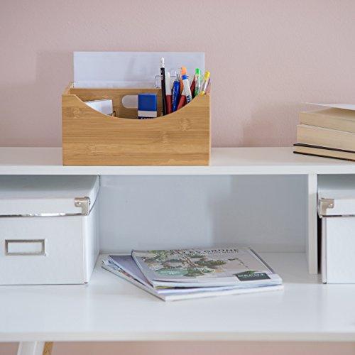 Relaxdays Schreibtischorganizer Bambus, Stifteköcher, 4 Fächer, Griff, natürliche Maserung, HxBxT: ca. 12 x 25 x 18 cm, natur - 2