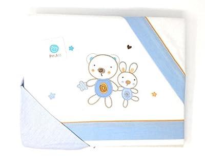PIRULOS-Sabanas invierno Franela MINICUNA - (bajera+encimera+funda almohada) Friends blanco-azul