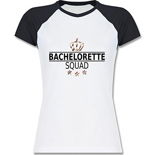 JGA Junggesellinnenabschied - Bachelorette Squad Krone - zweifarbiges Baseballshirt / Raglan T-Shirt für Damen Weiß/Navy Blau
