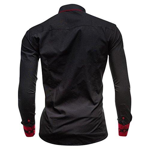 jeansian Herren Freizeit Hemden Shirt Tops Mode Langarmshirts Slim Fit 8697 Black