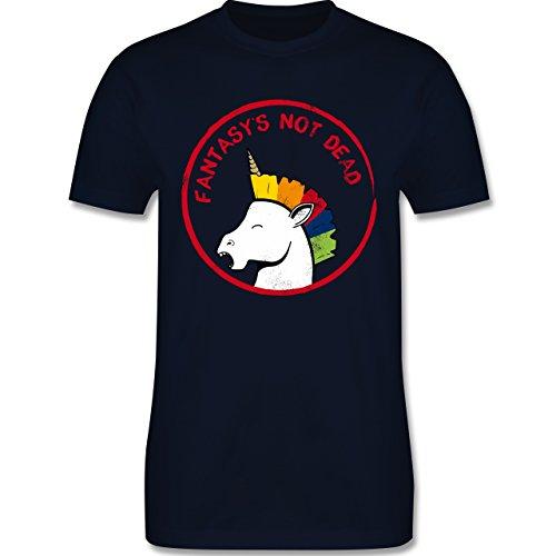 Comic Shirts - Fantasy's not dead Punk Einhorn - Herren Premium T-Shirt Navy Blau