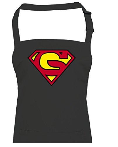 Supergran- Supergrandad Super Hero Grandma-grandad inspiré du film Unisexe Tablier de cuisine, noir, Taille Unique