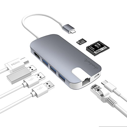 USB C Hub doedoeflu Hub Type C mit USB-C Ladeanschluss , SD/Micro SD-Kartenleser, Gigabit Ethernet Port, 4K HDMI-Ausgang, 3 USB 3.0 Ports für wie MacBook Air, MacBook Pro, Mac Mini, Google Chromebook (Ethernet-zu-telefon-adapter)