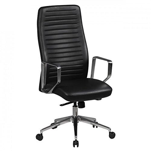 AMSTYLE Bürostuhl ATLANTA Echt-Leder Schwarz Schreibtischstuhl X-XL 120 kg verstellbar Chefsessel...