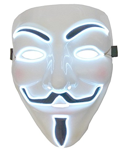 Inception Pro Infinite Maske für Kostüm - Verkleidung - Karneval - Halloween - Anonym - Helle LED - Weiß - Erwachsene - Unisex - Frau - Mann - Jungen - ()