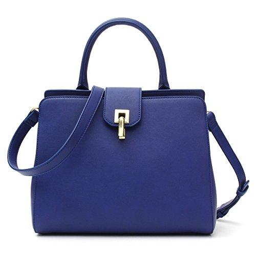 Kadell Damen Leder Handtasche Top Griff Crossbody Umhängetasche mit abnehmbarem Armband Dunkelblau (Billige Andere Eine Handtasche)