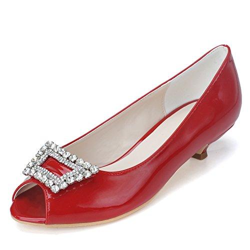 Scarpe a pelo per le donne Scarpe per sandali pescano gemme per ugelli Red