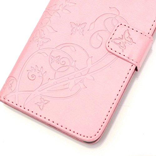 iPhone Case Cover Peint de couleur motif portefeuille style cas magnétique conception flip folio PU Housse en cuir couvrir cas standup pour iPhone 5S SE ( Color : Red , Size : IPhone 5S SE ) Pink