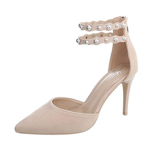 Ital-Design High Heel Pumps Damen-Schuhe Pfennig-/Stilettoabsatz Heels Reißverschluss Beige, Gr 37, B-51-