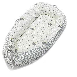 Hbitsae Multifunzionale lettino da viaggio Riduttore Lettino Baby Nest Pod Riduttore Lettino Neonato Antisoffoco Riduttore per 100% cotone fasciatoio per neonato e neonati letto Bionic Cotone Grigio