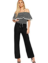 7b82d911e3 WearAll Women s Striped Print Layered Frill Bardot Off Shoulder Wide Leg  Crepe Trousers Ladies Jumpsuit 6