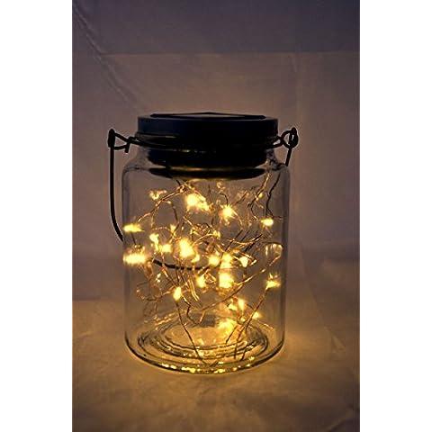 Outdoor Mason vaso solare con filo di rame Luce coperchi