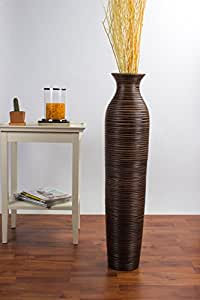 Grand Vase Décoratif 90 cm, Bois du manguier, Marron