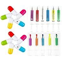 Médicos estacionarios pasadores de jeringas y cápsulas de drogas plumas para enfermera o el médico