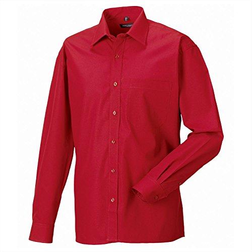 Russell Collection à manches longues en coton et facile d'entretien-T-Shirt en popeline Noir - Noir