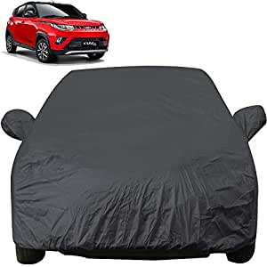 Autofact Car Body Cover with Mirror Pockets Compatible for Mahindra KUV100 (Triple Stitched, Bottom Fully Elastic, Dark Grey)