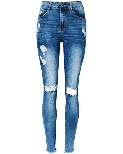 Damen Jeans Hosen High Waist Skinny Destroyed Stretch Dunkel Blau